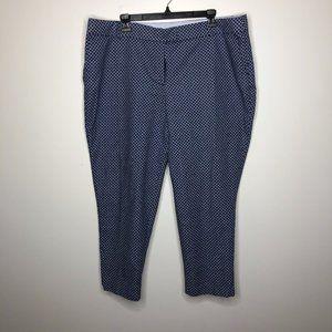 Dalia Collection Womens Blue Quartrefoil Floral Geometric Chino Pants Size 18 W